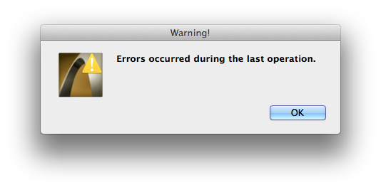 errors occurred during the last operation